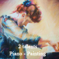 2 talents ! piano painting